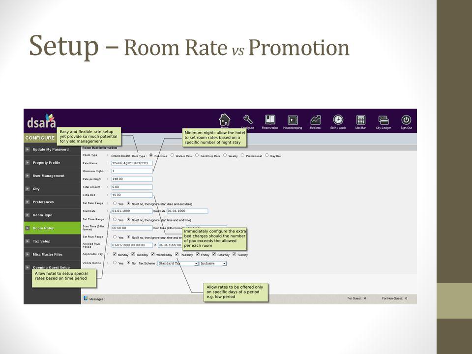 Setup – Room Rate vs Promotion