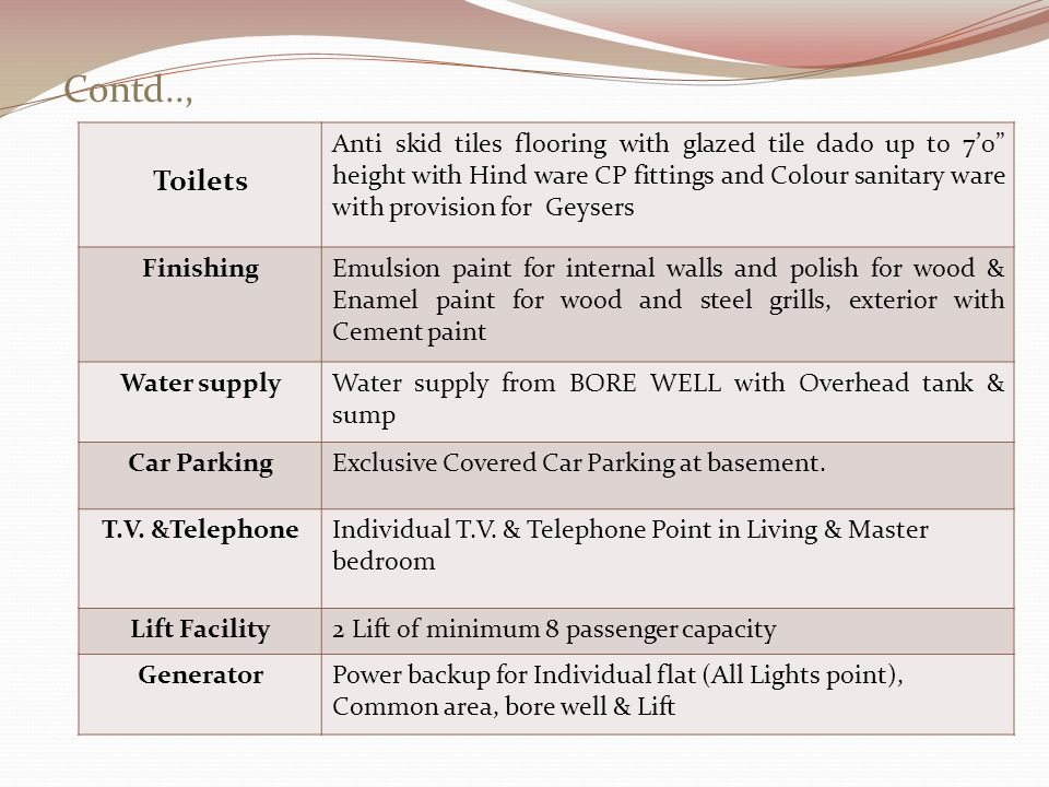Contd.., Toilets Anti skid tiles flooring with glazed tile dado up to 70 height with Hind ware CP fittings and Colour sanitary ware with provision for Geysers FinishingEmulsion paint for internal walls and polish for wood & Enamel paint for wood and steel grills, exterior with Cement paint Water supplyWater supply from BORE WELL with Overhead tank & sump Car ParkingExclusive Covered Car Parking at basement.