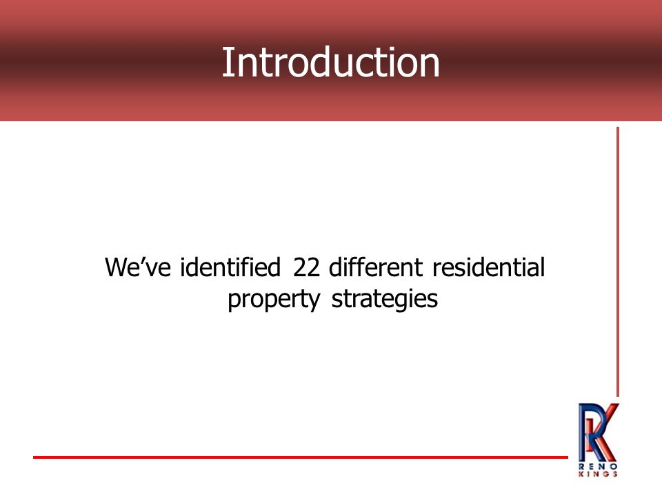 Weve identified 22 different residential property strategies Introduction
