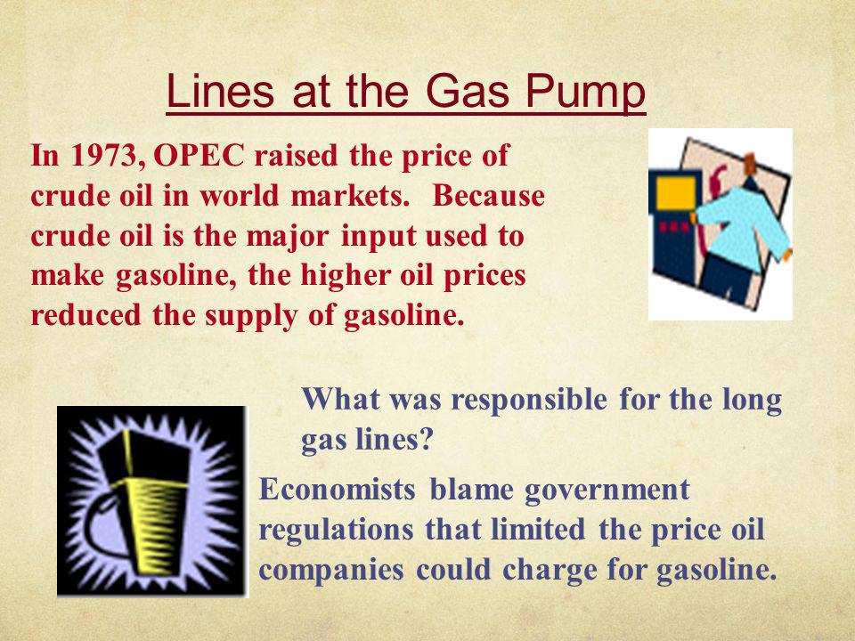 Lines at the Gas Pump In 1973, OPEC raised the price of crude oil in world markets. Because crude oil is the major input used to make gasoline, the hi