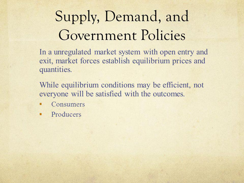 Supply, Demand, and Government Policies u In a unregulated market system with open entry and exit, market forces establish equilibrium prices and quan
