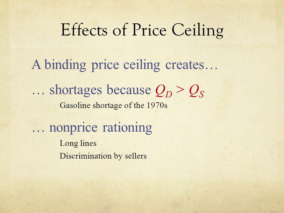 Effects of Price Ceiling A binding price ceiling creates… shortages because Q D > Q S u Gasoline shortage of the 1970s nonprice rationing u Long lines