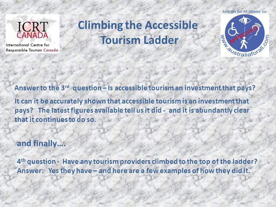 31 Answer to the 3 rd question – Is accessible tourism an investment that pays.