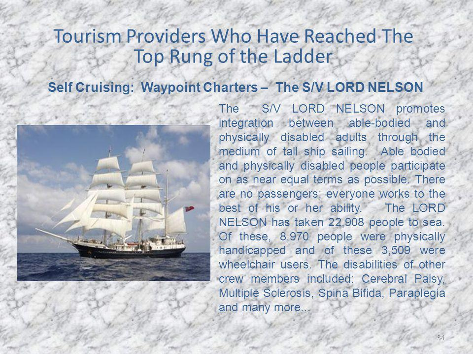34 Self Cruising: Waypoint Charters – The S/V LORD NELSON The S/V LORD NELSON promotes integration between able-bodied and physically disabled adults through the medium of tall ship sailing.