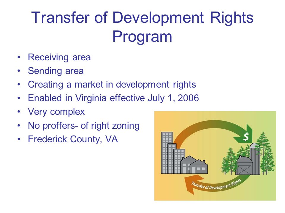 Transfer of Development Rights Program Receiving area Sending area Creating a market in development rights Enabled in Virginia effective July 1, 2006 Very complex No proffers- of right zoning Frederick County, VA