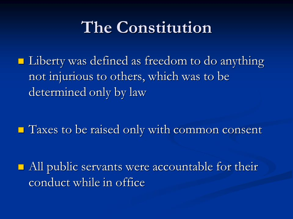 The Constitution Separation of powers through separate branches Separation of powers through separate branches Confiscation of property from private citizens had to be done with fair compensation Confiscation of property from private citizens had to be done with fair compensation Citizen applied to all French people regardless of class Citizen applied to all French people regardless of class