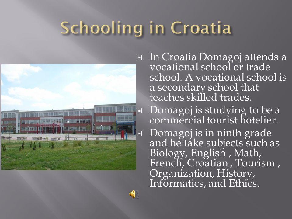 In Croatia Domagoj attends a vocational school or trade school.