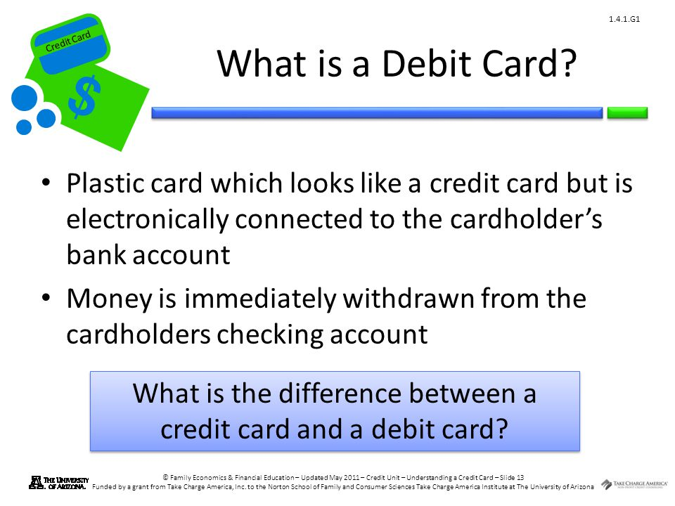 Credit Card © Family Economics & Financial Education – Updated May 2011 – Credit Unit – Understanding a Credit Card – Slide 13 Funded by a grant from