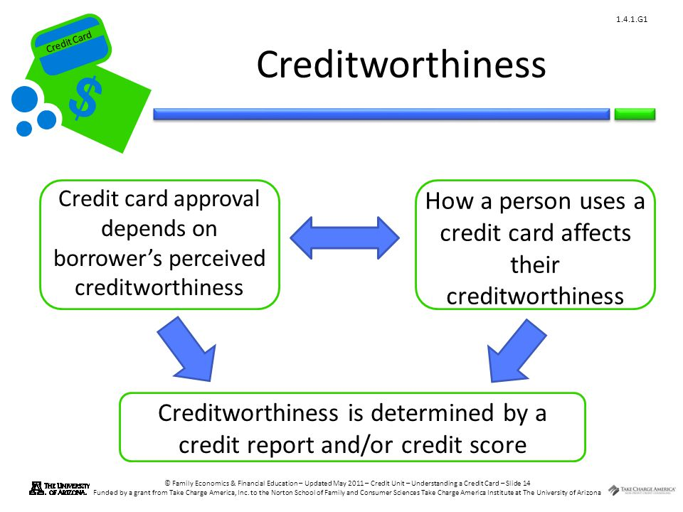 Credit Card © Family Economics & Financial Education – Updated May 2011 – Credit Unit – Understanding a Credit Card – Slide 14 Funded by a grant from