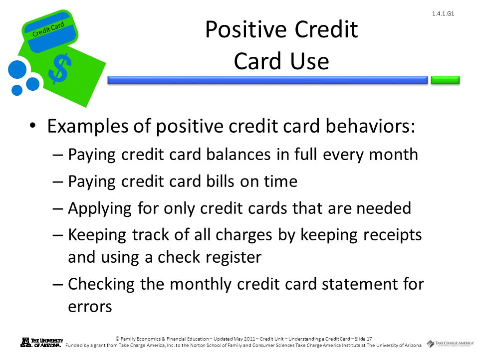 Credit Card © Family Economics & Financial Education – Updated May 2011 – Credit Unit – Understanding a Credit Card – Slide 17 Funded by a grant from