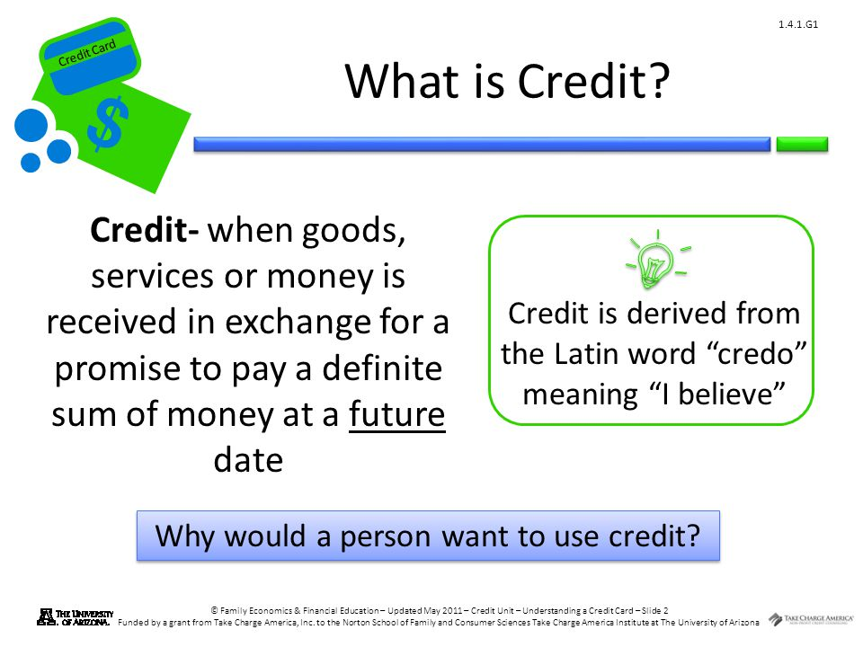 Credit Card © Family Economics & Financial Education – Updated May 2011 – Credit Unit – Understanding a Credit Card – Slide 2 Funded by a grant from T