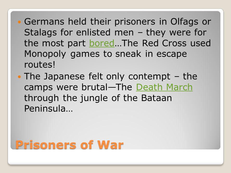 Prisoners of War Germans held their prisoners in Olfags or Stalags for enlisted men – they were for the most part bored…The Red Cross used Monopoly ga