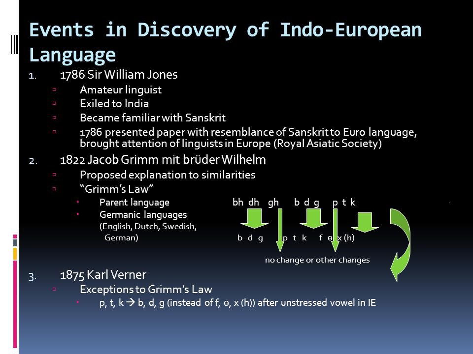 Events in Discovery of Indo-European Language 1. 1786 Sir William Jones Amateur linguist Exiled to India Became familiar with Sanskrit 1786 presented