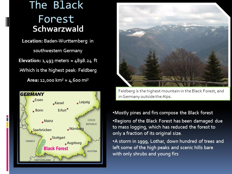 The Black Forest Schwarzwald Location: Baden-Wurttemberg in southwestern Germany Elevation: 1,493 meters = 4898.24 ft Which is the highest peak: Feldb