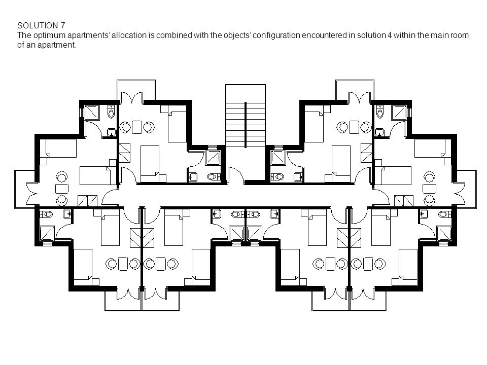 SOLUTION 7 The optimum apartments allocation is combined with the objects configuration encountered in solution 4 within the main room of an apartment.