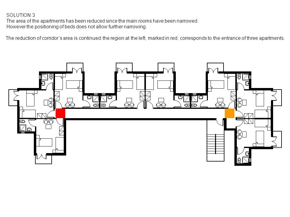 SOLUTION 3 The area of the apartments has been reduced since the main rooms have been narrowed. However the positioning of beds does not allow further