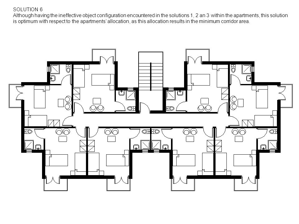 SOLUTION 6 Although having the ineffective object configuration encountered in the solutions 1, 2 an 3 within the apartments, this solution is optimum