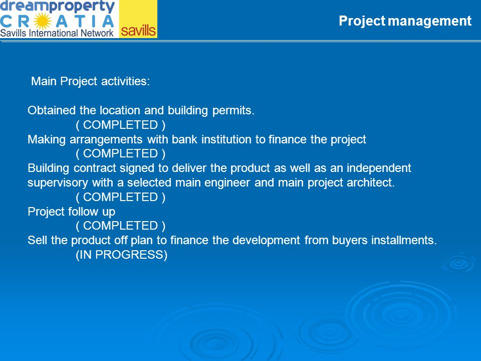 Project management Main Project activities: Initial market overview and recommendations to investors. ( COMPLETED ) Establish the legal framework to a
