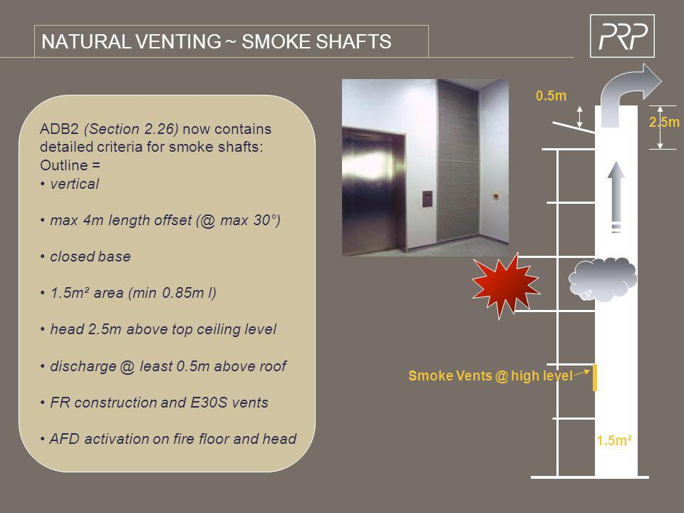 NATURAL VENTING ~ SMOKE SHAFTS ADB2 (Section 2.26) now contains detailed criteria for smoke shafts: Outline = vertical max 4m length offset (@ max 30°