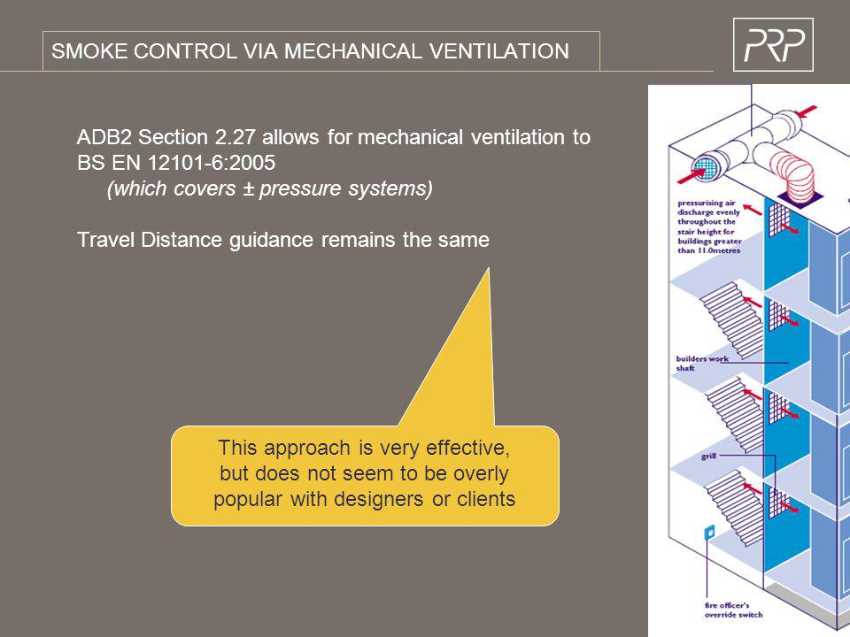 SMOKE CONTROL VIA MECHANICAL VENTILATION ADB2 Section 2.27 allows for mechanical ventilation to BS EN 12101-6:2005 (which covers ± pressure systems) T