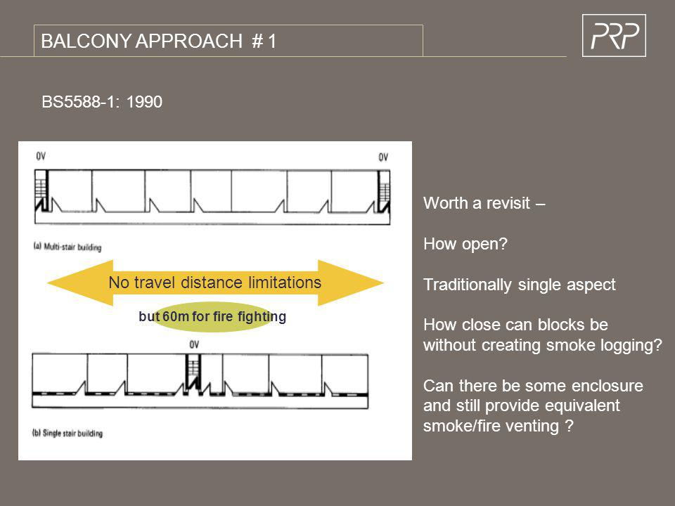 BALCONY APPROACH # 1 BS5588-1: 1990 Worth a revisit – How open? Traditionally single aspect How close can blocks be without creating smoke logging? Ca