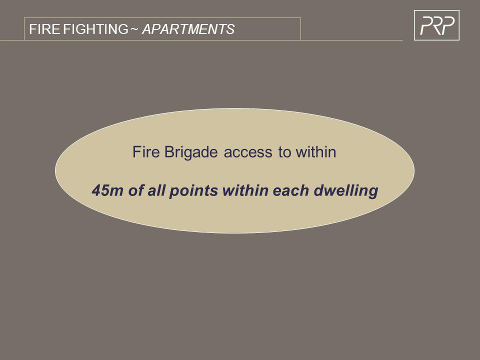 FIRE FIGHTING ~ APARTMENTS Fire Brigade access to within 45m of all points within each dwelling