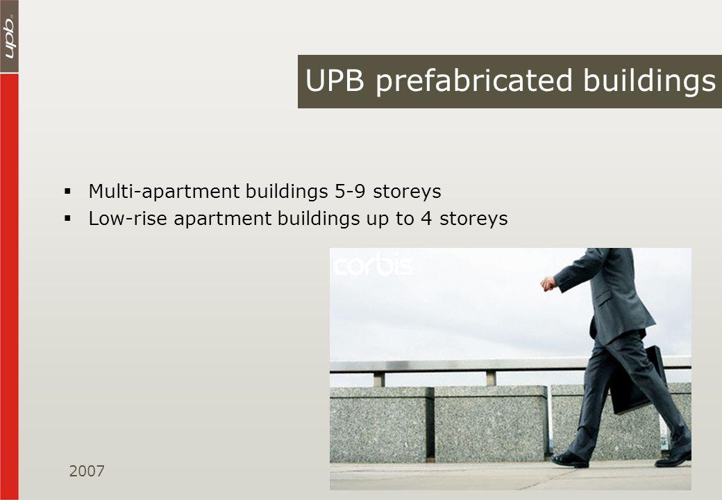 Multi-apartment buildings 5-9 storeys Low-rise apartment buildings up to 4 storeys UPB prefabricated buildings 2007