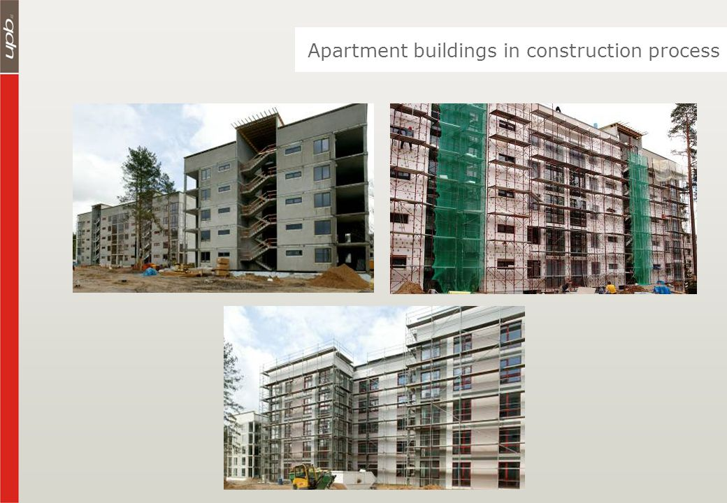 Apartment buildings in construction process
