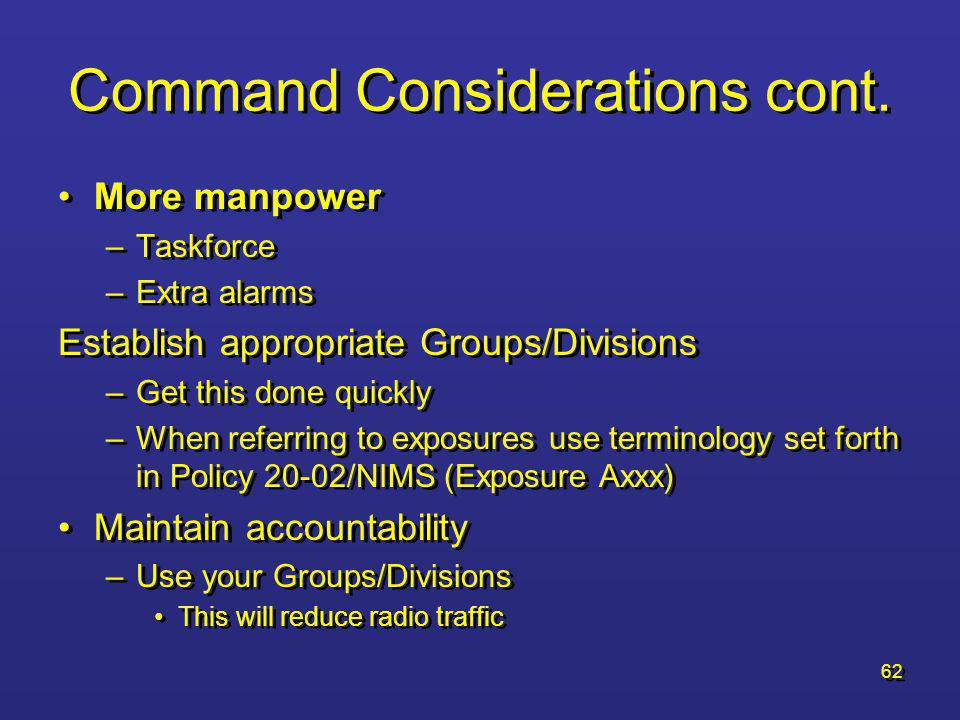 61 Command Considerations cont.–Offensive cont.
