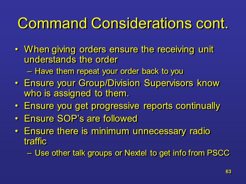 62 Command Considerations cont.