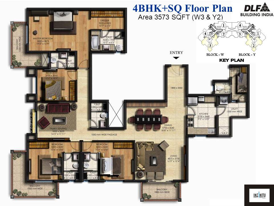 4BHK+SQ Floor Plan Area 3573 SQFT (W3 & Y2)