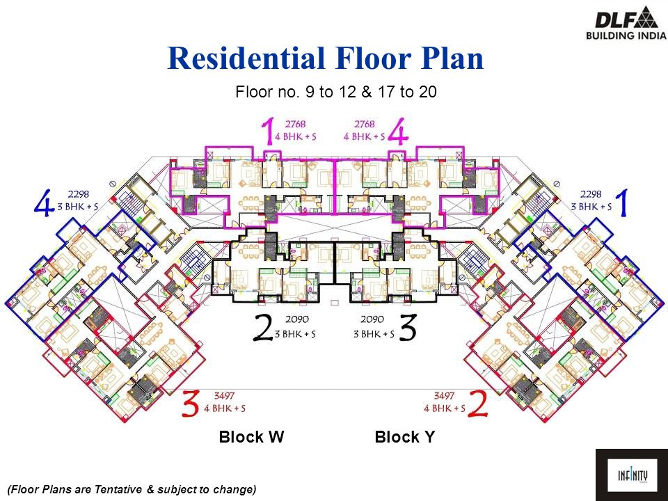 3BHK+SQ Floor Plan Area 2090 SQFT (W2 & Y3) (Floor Plans are Tentative & subject to change)