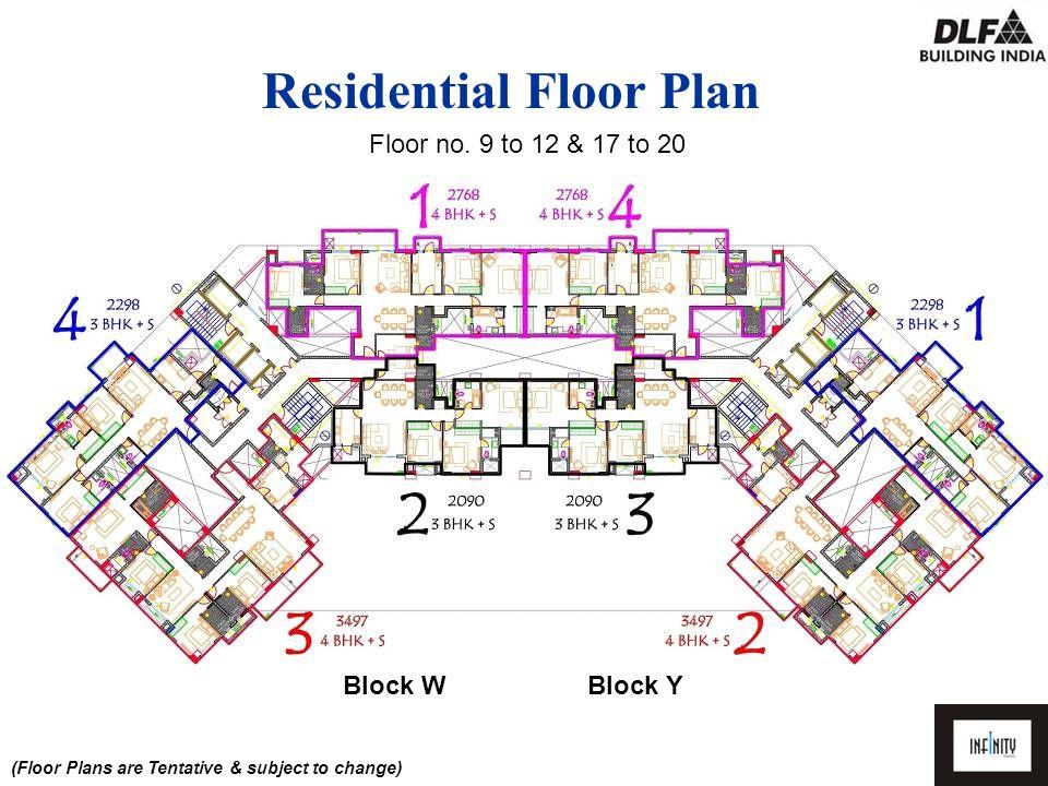 (Floor Plans are Tentative & subject to change) Floor no. 9 to 12 & 17 to 20 Block WBlock Y