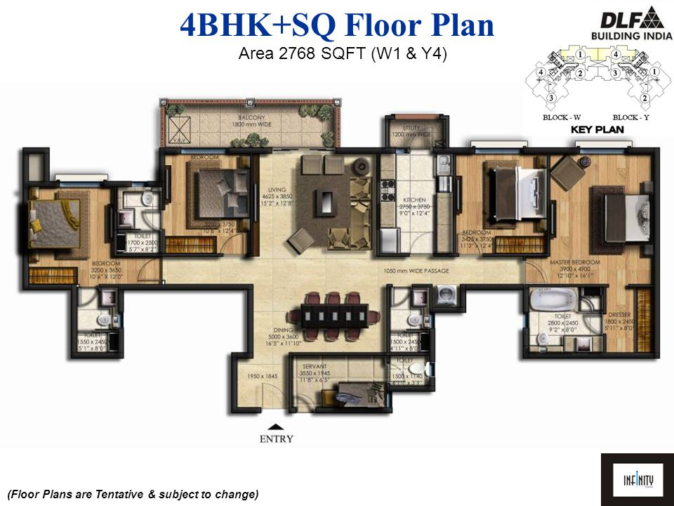 4BHK+SQ Floor Plan Area 3497 SQFT (W3 & Y2) (Floor Plans are Tentative & subject to change)