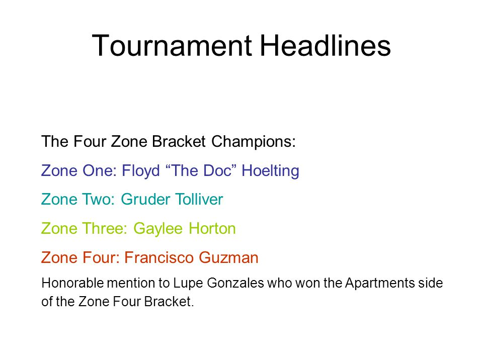 The Four Zone Bracket Champions: Zone One: Floyd The Doc Hoelting Zone Two: Gruder Tolliver Zone Three: Gaylee Horton Zone Four: Francisco Guzman Hono