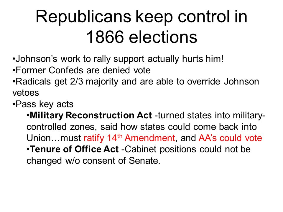 Republicans keep control in 1866 elections Johnsons work to rally support actually hurts him.