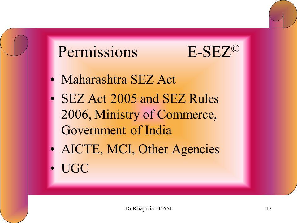 Dr Khajuria TEAM12 Sources of Finance E-SEZ © (Rs Million)* Equity 750 FDI 250 Endowments 500 Term Loans1,500 Total3,000