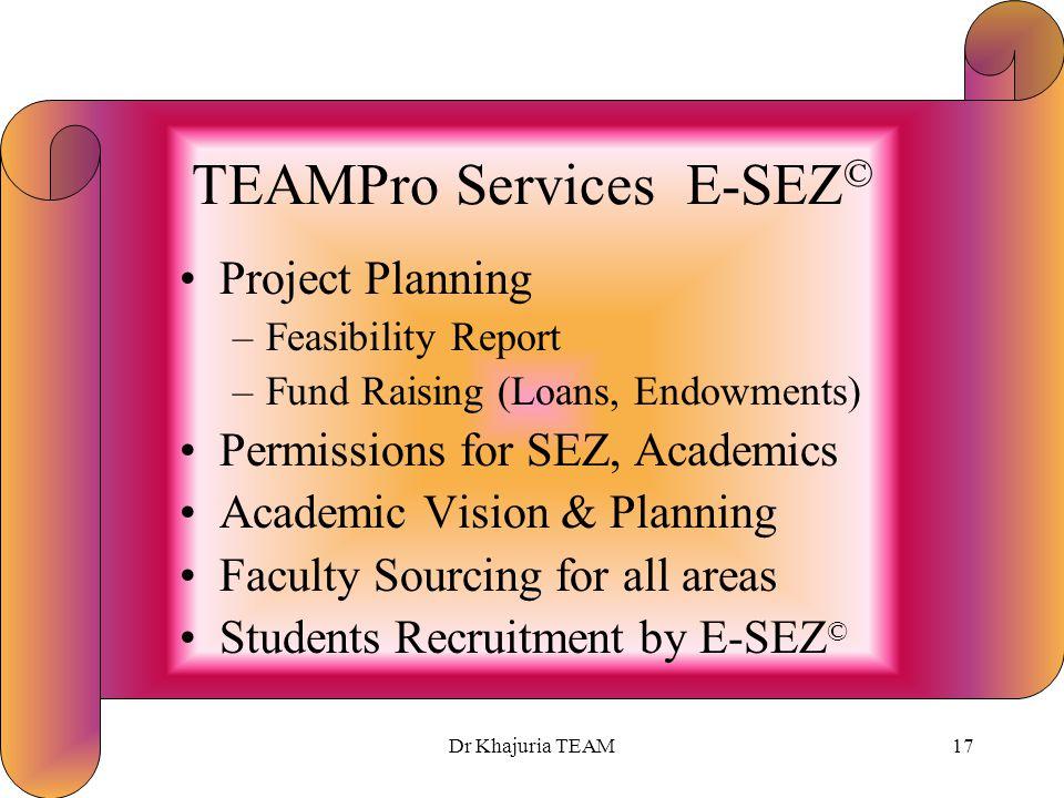 Dr Khajuria TEAM16 Time Period E-SEZ © Project Planning3 Months Permissions-SEZ3 Months –Sub-Total6 Months Implementation 54 Months Total 60 Months * (approx.)