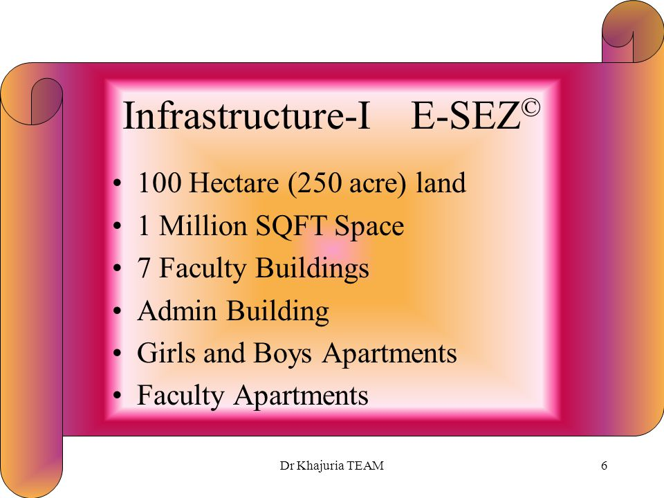 Dr Khajuria TEAM5 Benefits-II E-SEZ © Several Collaborations with International Universities Free Flow of Foreign Faculty and Students High-end Corpor