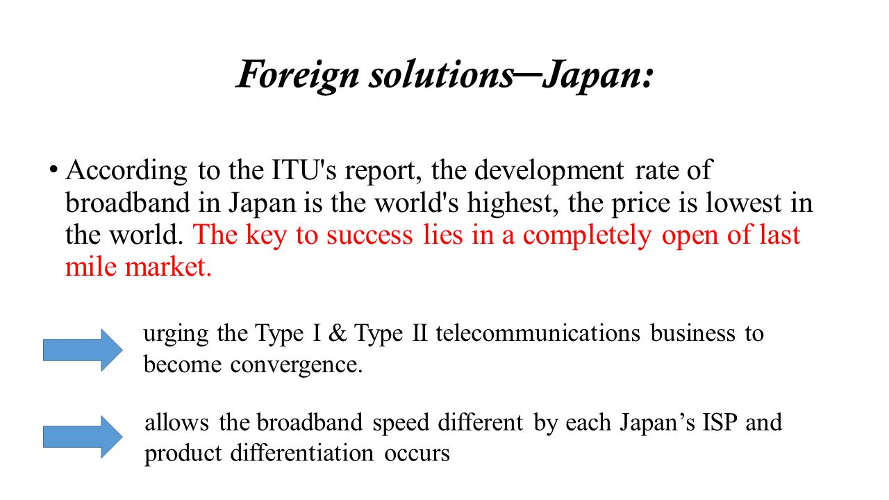 Foreign solutions Japan: According to the ITU's report, the development rate of broadband in Japan is the world's highest, the price is lowest in the