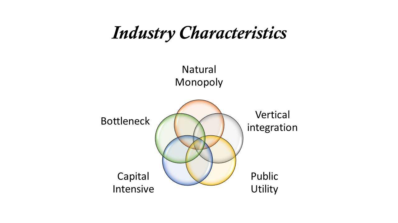 Industry Characteristics Natural Monopoly Vertical integration Public Utility Capital Intensive Bottleneck