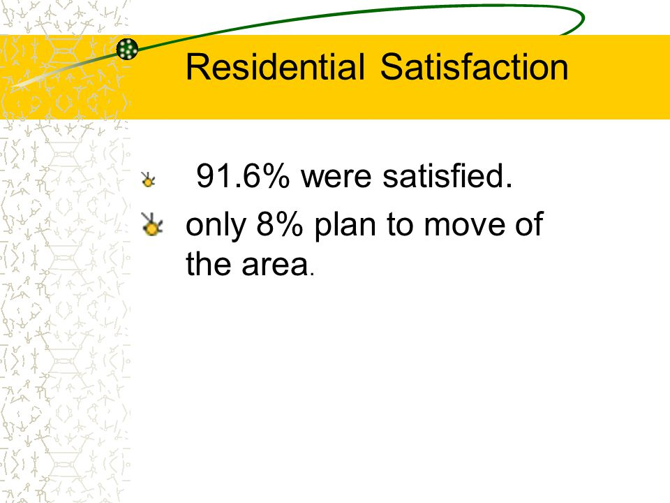 Residential Satisfaction 91.6% were satisfied. only 8% plan to move of the area.