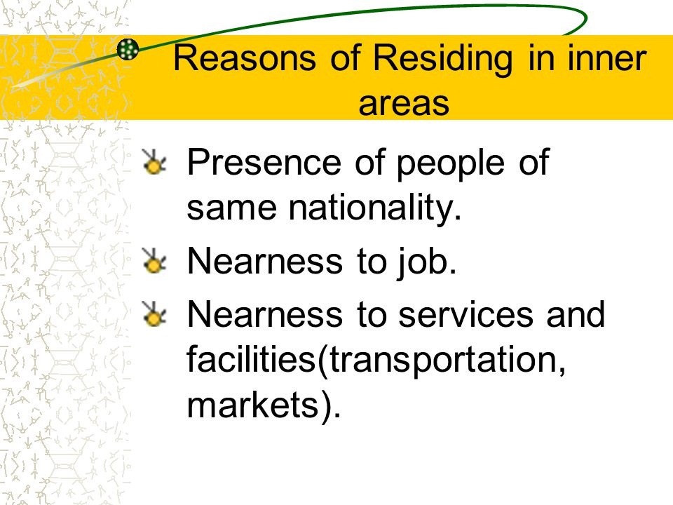 Reasons of Residing in inner areas Presence of people of same nationality.