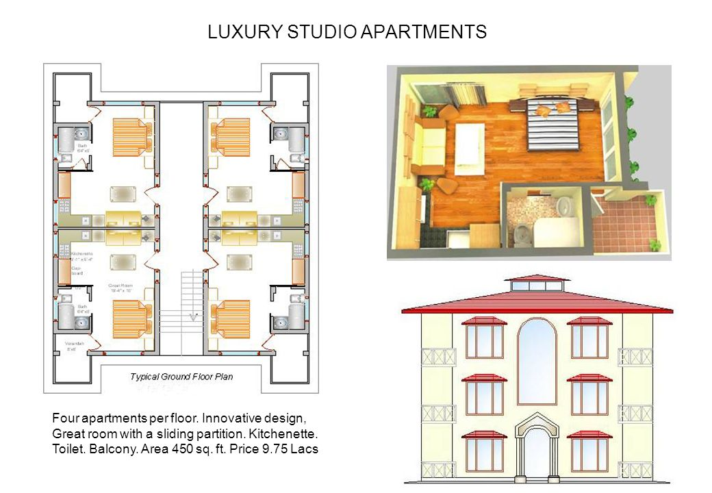 LUXURY STUDIO APARTMENTS Four apartments per floor. Innovative design, Great room with a sliding partition. Kitchenette. Toilet. Balcony. Area 450 sq.
