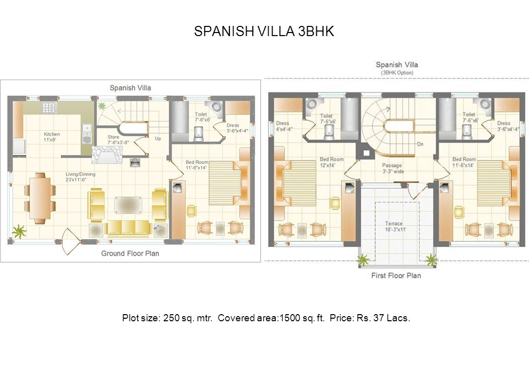 SPANISH VILLA 3BHK Plot size: 250 sq. mtr. Covered area:1500 sq. ft. Price: Rs. 37 Lacs.