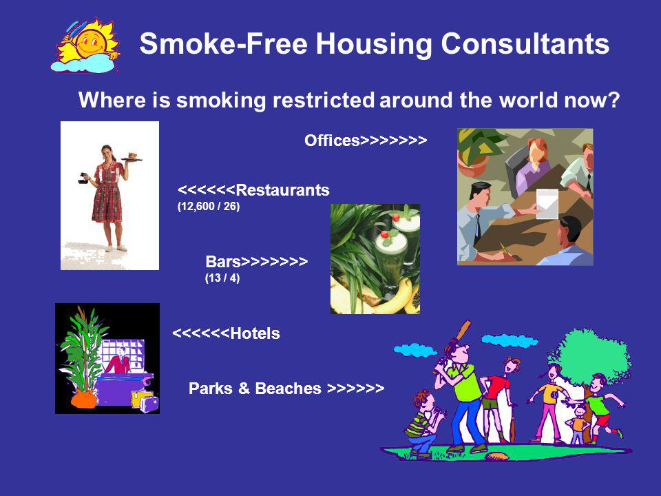 Smoke-Free Housing Consultants Where is smoking restricted around the world now? <<<<<<Restaurants (12,600 / 26) Parks & Beaches >>>>>> <<<<<<Hotels O