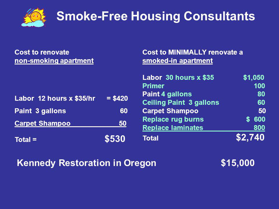 Smoke-Free Housing Consultants Cost to renovate non-smoking apartment Labor 12 hours x $35/hr = $420 Paint 3 gallons 60 Carpet Shampoo 50 Total = $530