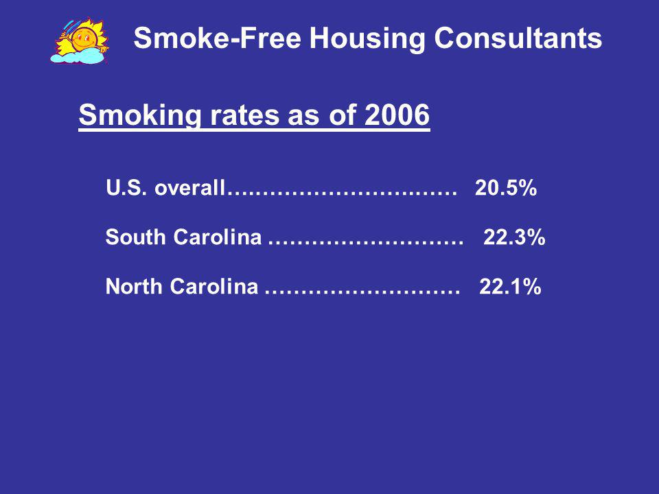 Smoke-Free Housing Consultants 24.7 million Americans with heart disease 1.37 million Americans with cancer 20.5 million Americans with asthma 4 million children under 18 Lupus Polio Cystic fibrosis Who is affected by the drifting smoke.
