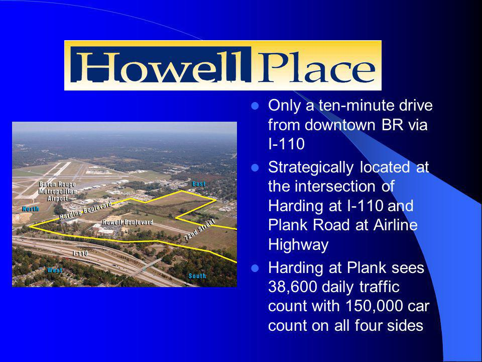 Howell Place Only a ten-minute drive from downtown BR via I-110 Strategically located at the intersection of Harding at I-110 and Plank Road at Airline Highway Harding at Plank sees 38,600 daily traffic count with 150,000 car count on all four sides