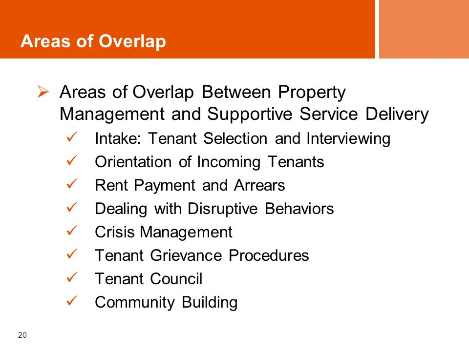 20 Areas of Overlap Between Property Management and Supportive Service Delivery Intake: Tenant Selection and Interviewing Orientation of Incoming Tenants Rent Payment and Arrears Dealing with Disruptive Behaviors Crisis Management Tenant Grievance Procedures Tenant Council Community Building Areas of Overlap